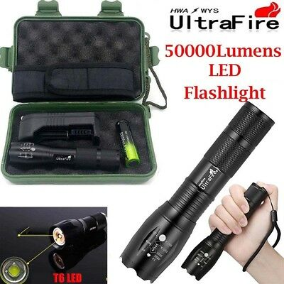 Tactical Light 50000LM Power T6 LED Flashlight Zoomable Torch+18650+Charger ▪