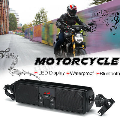 Motorcycle Bluetooth LED Display Waterproof Speaker Audio SD FM Radio MP3 Player