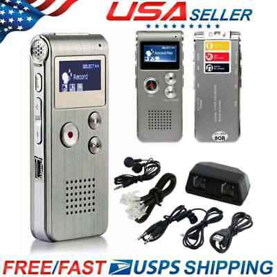 8G Digital Spy Audio Voice Recorder Rechargeable Dictaphone Telephone MP3 Player