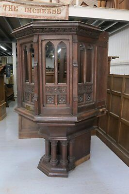 1904 Large Gothic Oak Church Pulpit With Stairs