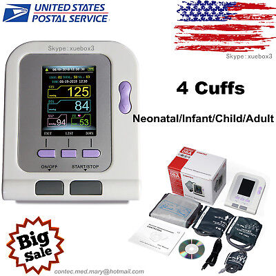 CONTEC-08A Digital Blood Pressure Monitor Adult/Pediatric Upper Arm BP 4 Cuffs
