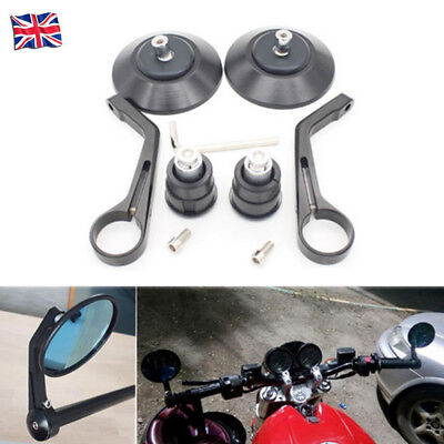 """7/8"""" Black Round Motorcycle Rear View Handle Bar End Rearview Side Mirror Chrome"""