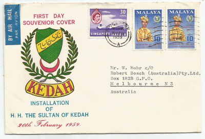 SINGAPORE MALAYA 1959 MIXED franking Sultan Kedah PRIVATE fdc, sent to AUS