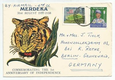 SINGAPORE MALAYA 1958 PRIVATE 1ST ANNIV FDC, sent frm SINGAPORE to Germany