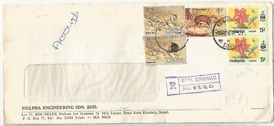 MALAYSIA SABAH  1984 REGISTERED Animals/Flowers cover