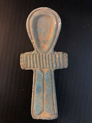 Rare Large Ancient Egyptian Stone Ankh Amulet 26th DYN 680 Bc