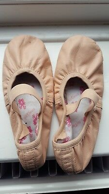 Girls Pink Leather Ballet Shoes, Size 13