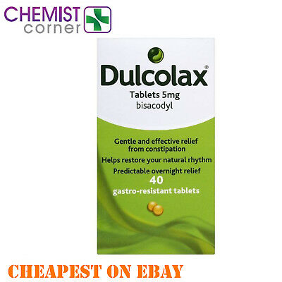 Dulcolax Tablets 5mg - Bisacodyl - 40 Tablets - Constipation - Laxative