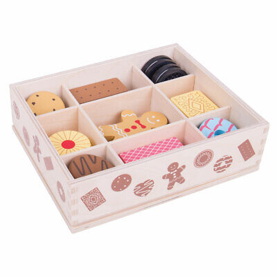 Bigjigs Toys Wooden Biscuit Box Pretend Play Food Roleplay Kitchen Shop Picnic