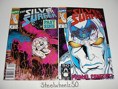 Silver Surfer #48 & 49 Comic Lot Marvel Jim Starlin Thanos Infinity Gauntlet HTF