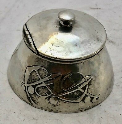very fine liberty & co tudric pewter inkwell & liner archibald knox 0653