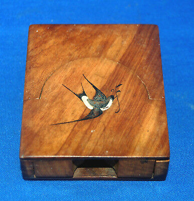 A beautiful Sorrento ware handpainted pocket watch stand or case, swallow bird