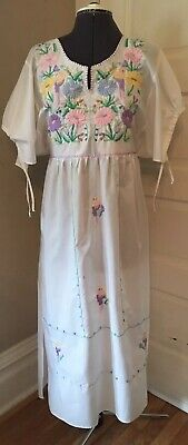 True Vintage Hippie Ethnic Boho Mexican Embroidery Maxi Tunic Festival Dress Med