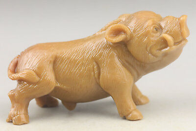 Chinese old natural hetian jade hand-carved pig statue  NO.F331