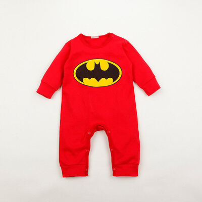 Top Baby Batman Babygrow Romper Baby Boys Clothes Playsuit Outfit Red 6-12 M