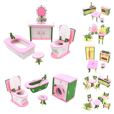 DollHouse Simulation Miniature Wooden Furniture Toys Wood New Baby Room For Kids