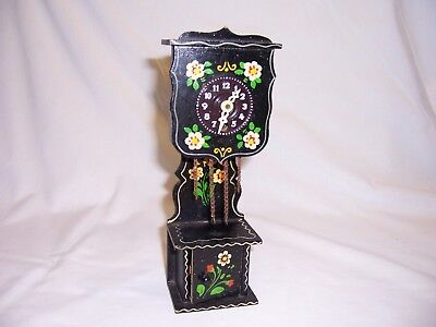 Mini Clock made in West Germany Grandfather black w/flowers antique clock
