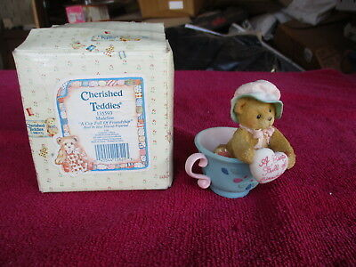 """Cherished Teddies #135593 Madeline """"A Cup Full of Friendship"""" Bear 1994"""