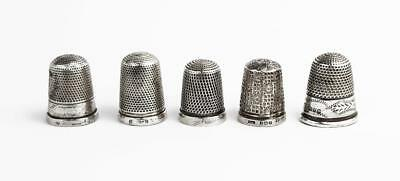 5x Antique STERLING SILVER THIMBLES Late 19th - Early 20th Century