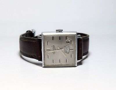 Vintage LUCERNE Men's Watch Calendar - Square Art Deco Retro Design
