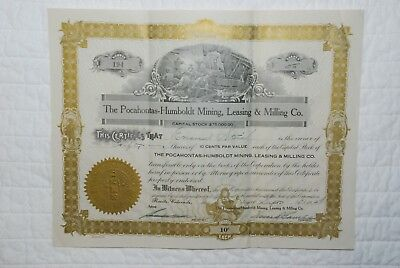 Vintage 1927 The Pocahontas Humboldt Mining Leasing & Milling Co. Stock Colorado