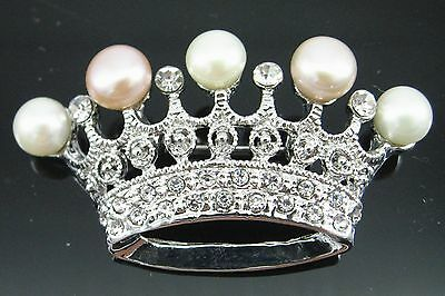 Vintage Crown Freshwater Pearl Multi Colour Platinum Plated Brooches Corsage