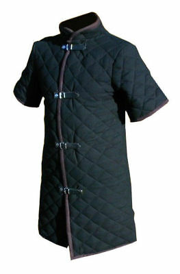 Medieval Black Color Thick Padded Gambeson For Armor Reenactment Costume