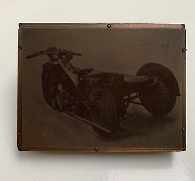 Copper Negative Photograph printing plate Early 1900's Scott 3 Wheel Motorcycle