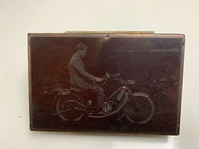Copper Negative Photograph printing plate Early 1900's Motorcycle N2022