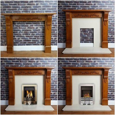 Ornate Oak Fire Surround Mantle & Cream Marble Hearth Complete Gas Fireplace