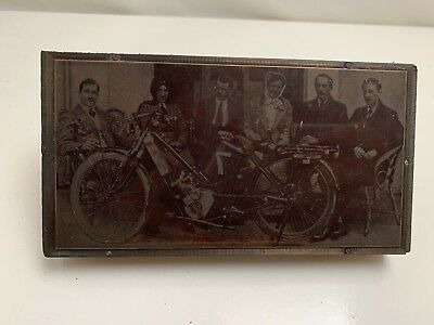 Copper Negative Photograph printing plate Early 1900's Motorcycle And People