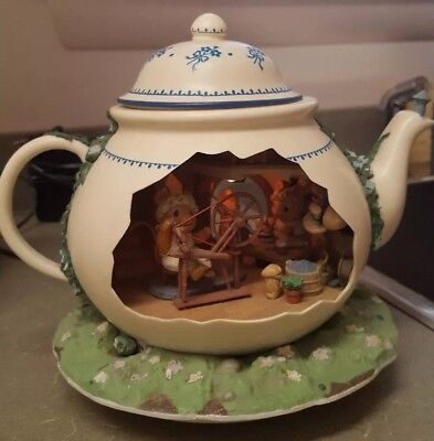 Music Box Enesco Teapot Bungalow Illuminate Delux Oh What Beautiful Morn #562556