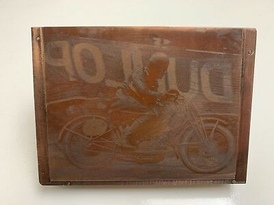 Copper Negative Photograph printing plate Early 1900's Motorcycle Dunlop Sign