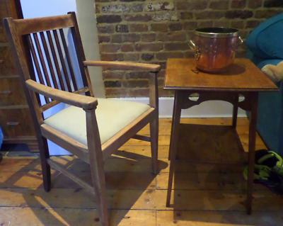 Oak Arts And Crafts Carver Chair And Side Table Plant Stand