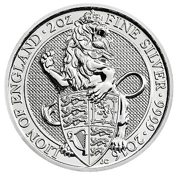 The Queen's Beasts 2016 Lion of England 2 oz Silver Coin