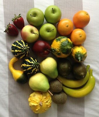 Realistic Display Bowl Size Replica Plastic Fruit 24 Piece set