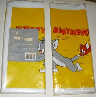 Vintage 1986 TOM & JERRY Birthday Party plastic Tablecover Mint In Package