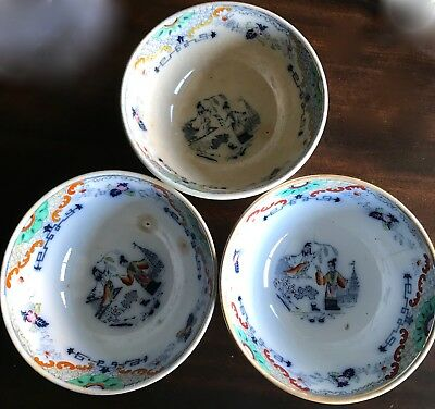Rare Antique Bowls Petrus Regout Sphinx Maastricht Timor Multicolor 5-3/4 In.