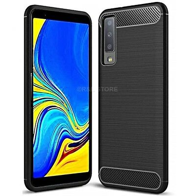 COVER per Samsung Galaxy A7 2018 CUSTODIA Morbida ORIGINALE CARBONIO Silicone