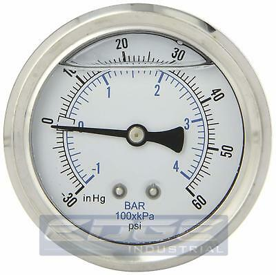 "Liquid Filled Vacuum Gauge -30-60 Psi, 2.5"" Face, 1/4"" Back Mount Wog"