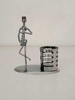 Pen Stand Holder Pen Stationary Swivel Stand Funnel Foundation Silver Gift Item