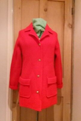 Vintage 1960s 70s Vivid Red 100% Wool Heavy Knitwear Thick Cardigan Jacket