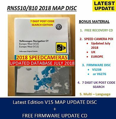 RNS510 SKODA SEAT VW V15 RNS810 2018 Navigation Map West Europe + Update CD