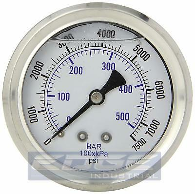 "Liquid Filled Pressure Gauge 0-7500 Psi, 2.5"" Face, 1/4"" Back Mount Wog"