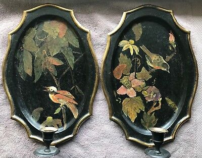 Pair VINTAGE TOLE WALL CANDLE SCONCES HAND PAINTED BIRDS FLOWERS
