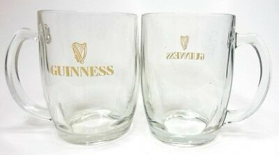 Vintage Guinness 2 Pint Heavy Clear Glass Mugs Beer Ale Tankards