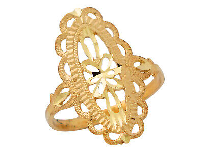 10k or 14k Yellow Gold Marvelous Ladies Fine Filigree Design Oval Ring Jewelry