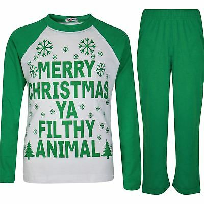 Kids Boys Girls PJS Designer Ya Filthy Animal Green Christmas Pyjamas 2-13 Years