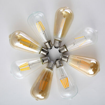 E27 4/6/8W LED Edison Filament Bulb Light ST64 Retro Vintage Globe Amber Lamp