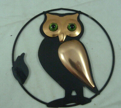 Vintage Coppercraft Guild Green Eyed Owl Round Wall Decor Retro Copper Art
